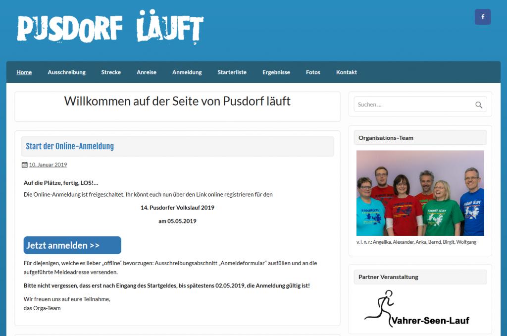 Homepage der Sportveranstaltung Pudorf Läuft