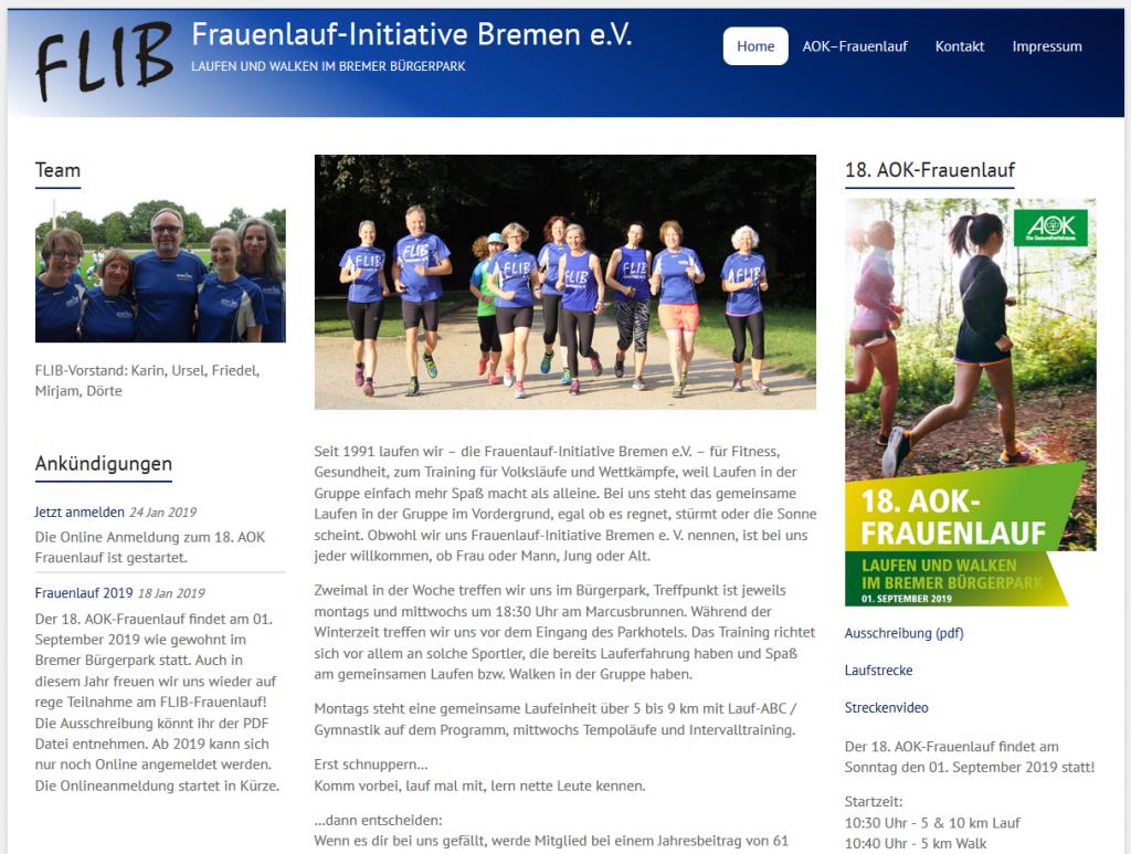 Homepage der Frauenlauf-Initiaitive Bremen