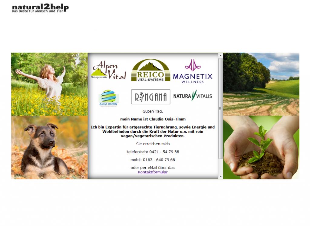 Homepage der firma natural2help